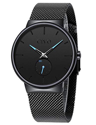 CIVO Relojes Hombre Ultrafino Negro Minimalista Impermeable Reloj de Pulsera para Hombre de Malla de Acero Inoxidable Relojes para Hombre Analógicos Simple Negocios Elegante Vestido