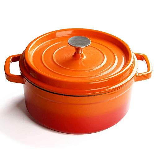 Cazuela de hierro fundido con revestimiento de esmalte antiadherente de 24 cm para cazuelas de tamaño familiar, sopas, guisos, asados, wok rojo (color naranja)