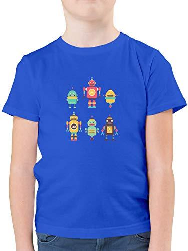 Up to Date Kind - Bunte Roboter - 128 (7/8 Jahre) - Royalblau - Roboter t-Shirt 128 - F130K - Kinder Tshirts und T-Shirt für Jungen