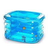 NXYJD Bebé de la bañera Inflable, Infantil Portable Mini Piscina al Aire Kid Niño Grueso Plegable Ducha Cuenca con Suave cojín del Asiento Central (Color : Blue, Size : B)