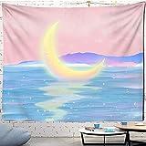 Tapiz de Luna Rosa Estrellado para Colgar en la Pared de Universo, tapices para Dormitorio, Arte para el hogar, decoración de habitación psicodélica Kawaii A21, 150x130cm