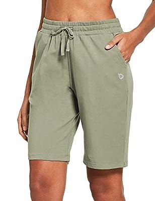 "BALEAF Women's 10"" Active Bermuda Shorts Jersey Walking Knit Shorts Pajama Long Shorts Deep Pockets Spray Green Size L"