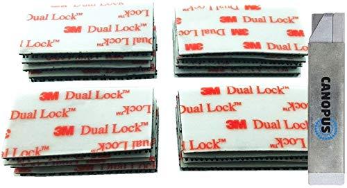 3M Dual Lock SJ3550 Klettband Klebepad 16 Stück (25,4mmx50mm), selbstklebender flexibler Druckverschluss mit Box Cutter von Canopus (1 Stck)