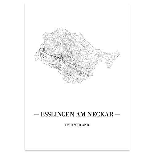 JUNIWORDS Stadtposter - Wähle Deine Stadt - Esslingen am Neckar - 40 x 60 cm Poster - Schrift A - Weiß