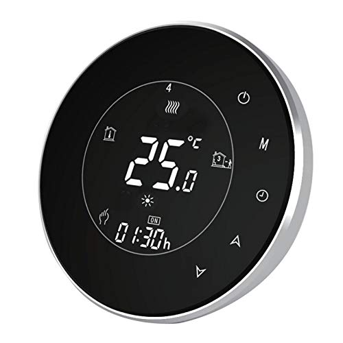 Metermall Smart Thermostat WiFi Temperature Controller Metal Brushed Panel Smart Life APP Remote Control Black boiler thermostat