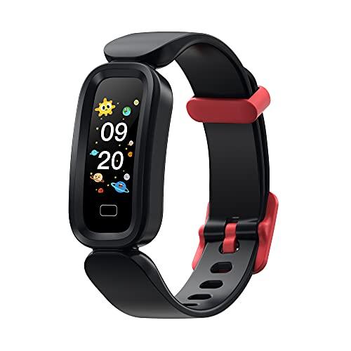 Pulsera Inteligente para niños y niños, Reloj Inteligente GPS Impermeable IP68 con 14 Modos de Actividad de Deporte, Smartwatch con Pulsometro, Monitor de sueño, localizador y cronometro (Negro)