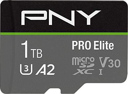 PNY Tarjeta de Memoria microSDXC Pro Elite 1TB + Adaptador SD, A2 App Performance, hasta 100MB/s de Velocidad de Lectura, Clase 10 UHS-I, U3, V30 para vídeo de 4K