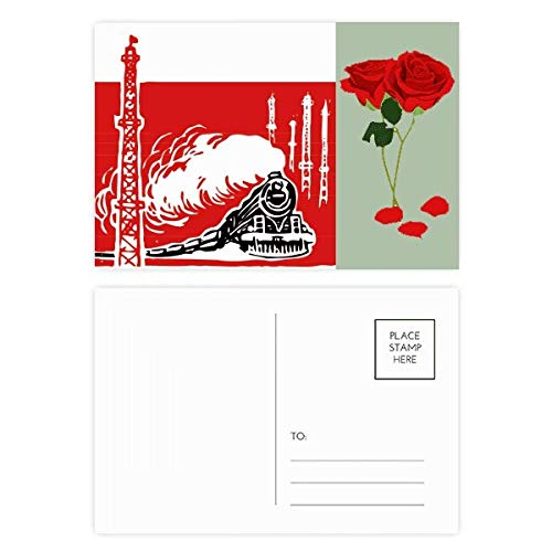 Conjunto de cartões postais China Train Tower Steam Red Rose Day Cartões de agradecimento Lateral 20 peças