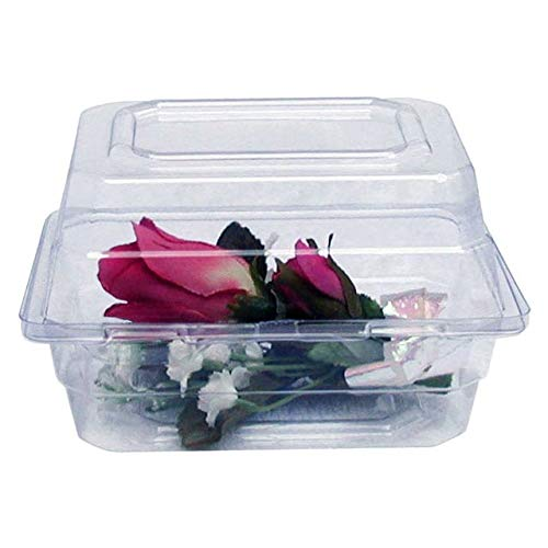 "Boutonniere Flower Box Clear Prom Wedding Corsage Craft Container w/ BONUS eBook (8"" x 5"" x 4"", 25 Count)"