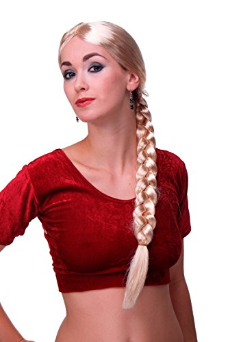 WIG ME UP ® - Per-P02 Perruque Dames Carnaval Rapunzel Longue Blonde Tresse tressé