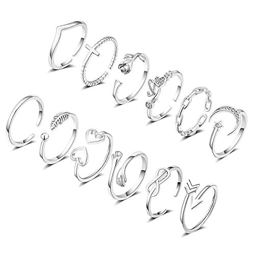 KOHOTA 12Pcs Adjustable Rings for Women Wave Arrow Heart Star Moon Love Flower Open Rings Set Simple Stackable Thumb Ring