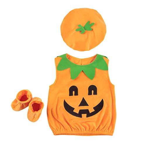 Amosfun Halloween-Kostüm für Kinder, Kürbis-Kostüm, Mütze, Socken, 80 cm
