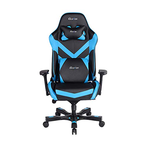 Clutch Chairz - Ergonomic Gaming Chair, Video Game Chairs, Office Chair, High Chair and Lumbar Pillow for Computer Desk - Black/Blue - Throttle Series