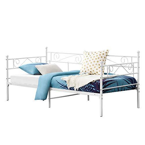[en.casa] Metallbett Kerava 90x200 cm Tagesbett mit Kopf- und Fußteil Bettsofa Kojenbett Jugendbett Gästebett Weiß