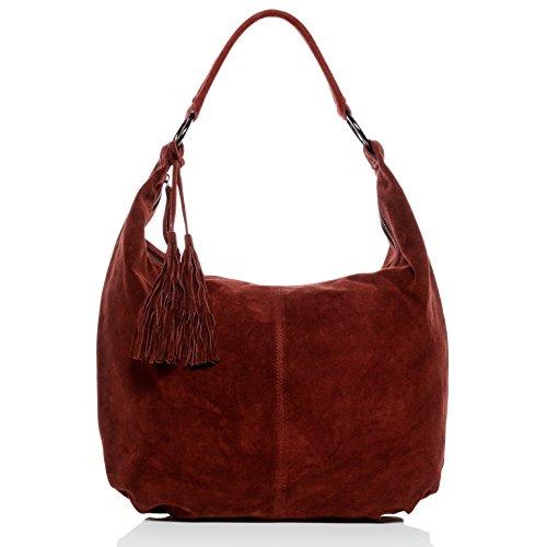 BACCINI® Borsa a secchiello vera pelle SELINA grande borsa a spalla Hobo bag donna cuoio rosso