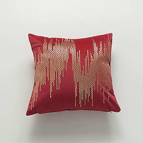 BEPM Cushion Cover Cushions For Sofa Decorative Pillows Soft Velvet Cushion Cover Abstract Rivet Home Decorative Pillow Cover For Home Sofa Bed 45X45Cm Yellow Red Dark Green Grey Brown-Red