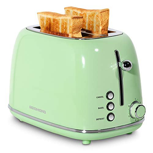 REDMOND 2 Slice Toaster Retro Stainless Steel Toaster with Bagel, Cancel, Defrost Function and 6 Bread Shade Settings Bread Toaster, Extra Wide Slot and Removable Crumb Tray, Green, ST028
