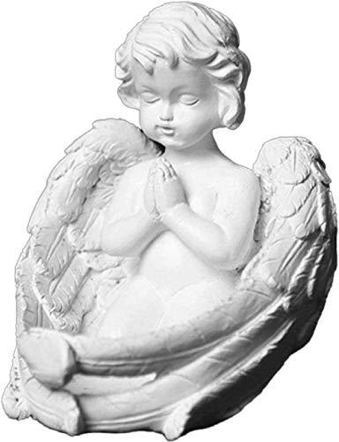 Querubín Rezando con alas, Figuras de ángel, decoración del hogar Interior al Aire Libre, Adornos de mármol adherido Blanco 20x9.5x13cm (8x4x5 Pulgadas)