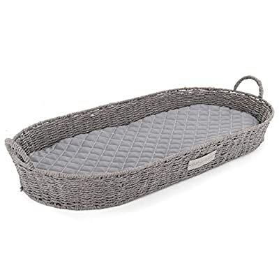 Rutledge & King Baby Changing Basket - Moses Basket Inspired Changing Basket for Baby - Changing Table Topper for Dresser - Baby Changing Table Basket - Woven Changing Basket with Mat (Grey)