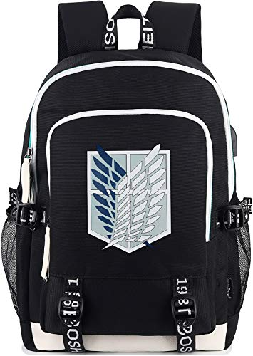 Roffatide Anime Attack on Titan Backpack Survey Corps Wings of Freedom Printed College Bag Laptop Backpack with USB Charging Port & Headphone Port