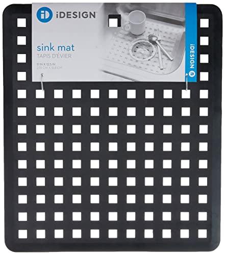 iDesign Spülbeckeneinlage, reguläre Spülbeckenmatte aus PVC Kunststoff, Spülmatte zum Abstellen von Besteck & Geschirr, schwarz