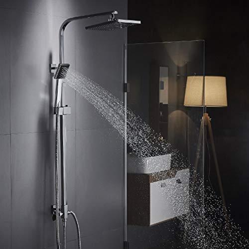 Auralum Moderde Design Duschset Duscharmatur Duschsystem mit Regendusche und Duschkopf Handbrause für Badezimmer Kupfer Dusche