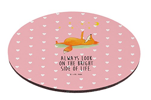 Mr. & Mrs. Panda Mousepad, Maus, Rund Mauspad Fuchs Sterne mit Spruch - Farbe Rot Pastell
