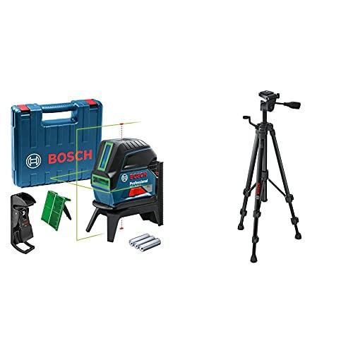 Bosch Professional Livella Laser Multifunzione Gcl 2-15 G Laser Verde, Da Interno, Punti A Piombo, 15 M, 3 Pile A Stilo Da 1,5 V & 0603691100 Treppiede A Colonna, Tt 150