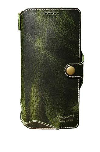 Yogurt für Samsung Galaxy M31 Smartphone (15,92 cm (6,4 Zoll) Ledertasche Hülle Echtleder Hülle Lederhülle Wallet Grün