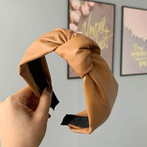 Diadema de cuero de moda coreana Nudo de lazo Diadema Dama Niñas Bandas de aro de pelo Accesorios para el cabello Para mujeres Tocado-marrón 2