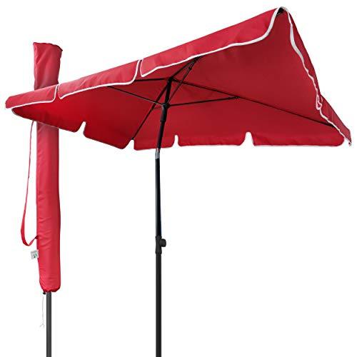 VOUNOT Sonnenschirm Rechteckig für Balkon und Terrasse, 200 × 125 cm, Knickbarer Balkonschirm, Sonnenschutz UV 50+, Rot
