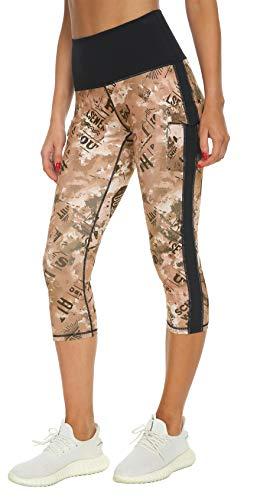 Flatik, leggings sportivi da donna, a vita alta, con tasche, opachi, per palestra, palestra, pantaloni sportivi 0347 Capri M