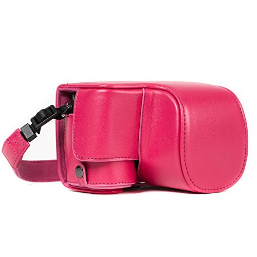 MegaGear MG1234 Ever Ready - Funda de Piel con Correa para cámara Sony Alpha A6500, Color Rosa
