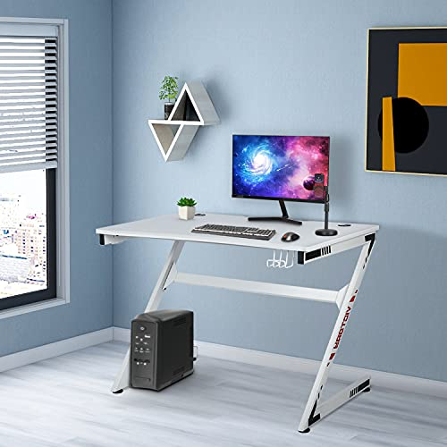 Gaming Computer Desk Z Shaped 43 inch PC LargeGaming Table, Racing Table, Student Desk, Home Office Desk Gamer Workstation with Cup Holder Headphone Hook for Kids Adults, White