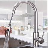 Capalta Blume, rubinetto da cucina girevole a 360°, con doppia soffione estraibile, in acciaio inox, a leva singola