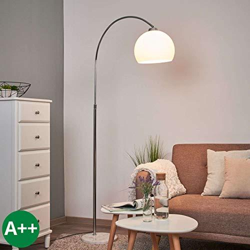 Lindby Stehlampe (Bogenleuchte) 'Sveri' (Modern) in Weiß u.a. für Wohnzimmer & Esszimmer (1 flammig, E27, A++) - Bogenlampe, Stehleuchte, Floor Lamp, Standleuchte, Wohnzimmerlampe