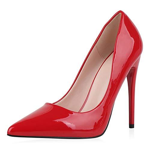 SCARPE VITA Damen Pumps High Heels Elegante Lack Schuhe Stiletto Absatzschuhe Spitze Partyschuhe 186261 Rot 40