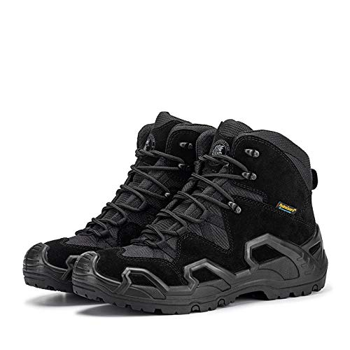 Y-PLAND Outdoor waterproof breathable hiking shoes, men's special forces fight boots, desert tooling boots-black_EU40