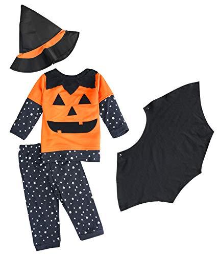 FANCYINN Baby Jungen Halloween Kürbis-Kleidung-Sets Kleinkinder Jungen Cosplay 3 Stück Kostüme mit Zaubererhut 100