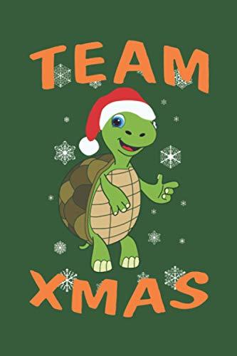 """Team xmas Weihnachts-Schildkröte: Personalisiertes Notizbuch (6"""" x 9"""" ~ DinA5) 120 linierte Seiten Tagebuch / Poesiealbum mit niedlichem Weihnachtsmotiv"""