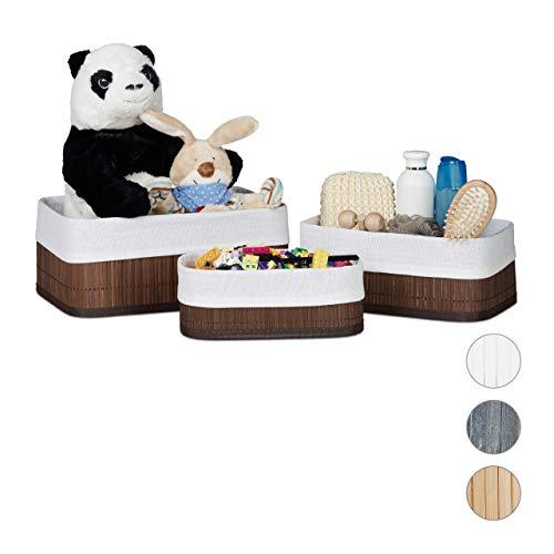 Relaxdays Cajas de almacenaje, Set de Tres, Funda Textil, Rectangular, Accesorio, Baúles, Bambú, Marrón Poliéster DM, 13 x 30 x 20 cm