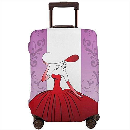 Cubierta de Equipaje de Viaje Chica en un Vestido de Bola roja Cubierta de Maleta Hermosa Protector de Equipaje Cubierta de Equipaje