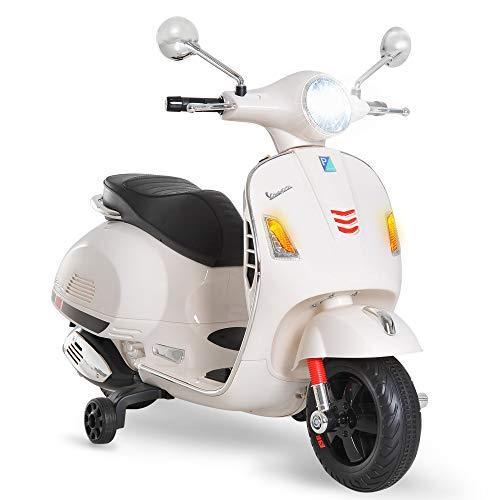 HOMCOM Moto Eléctrica Infantil Coche Triciclo Vespa Scooter Eléctrico a Batería con Luz MP3 USB Bocina para Niños Más de 3 Años Carga 30kg