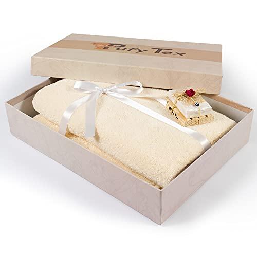 Pufy Tex Toalla Premium para Sauna 100% Algodón [70x140cm] incl. Caja de regalo y jabón de leche de burra - Toalla de baño XXL para todos los usos - Toalla extra suave para hombres y mujeres