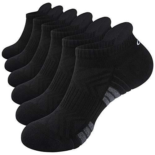 coskefy Sneaker Socken Herren Damen Gepolsterte Socken Herren 43-46 39-42 35-38 47-50 Atmungsaktiv Laufsocken Baumwolle Sportsocken 6 /3 Paar