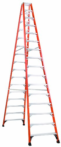 Louisville, FM1416HD, 16' Fiberglass 375 Lb. Twin Stepladder, Type Iaa