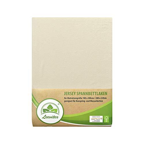 leevitex® Farbenfrohes Spannbettlaken für WASSERBETTEN & BOXSPRINGBETT Spannbetttuch Jersey 200 x 220cm, 40cm Steghöhe 100% Baumwolle ca. 170 g/m² (Creme/Naturweiß)