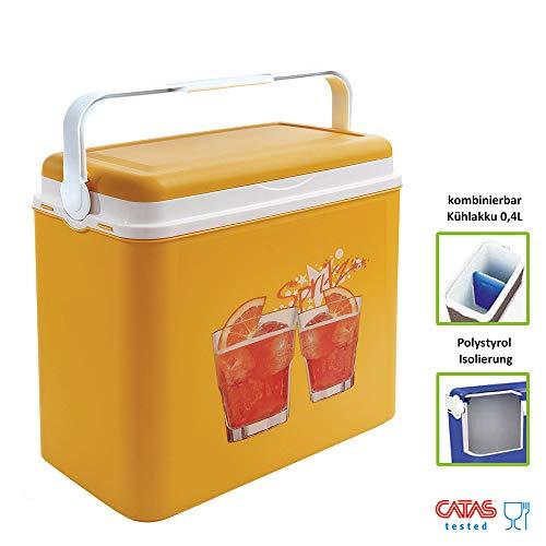 Kühlbox | Passive Kühlbox | Kühltaschen aus Kunststoff mit polystyrol thermische Isolierung (24 L, Orange)