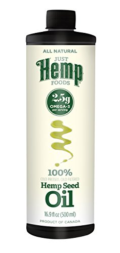 Just Hemp Foods All Natural Hemp Seed Oil, Cold Pressed, Cold Filtered, 2.5g Omegas Per Serving, 16.9 Fl Oz