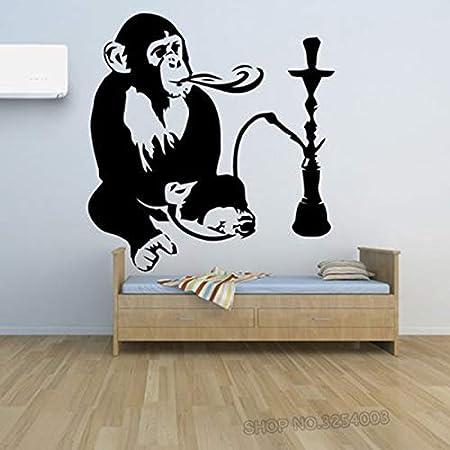Tianpengyuanshuai Vinilos Decorativos para cachimba decoración de escaparates de Humo decoración Mono y vinilos para cachimba Adhesivo de Pared Mono extraíble 42x47cm